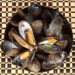 Bowl of fresh mussels — Stock Photo