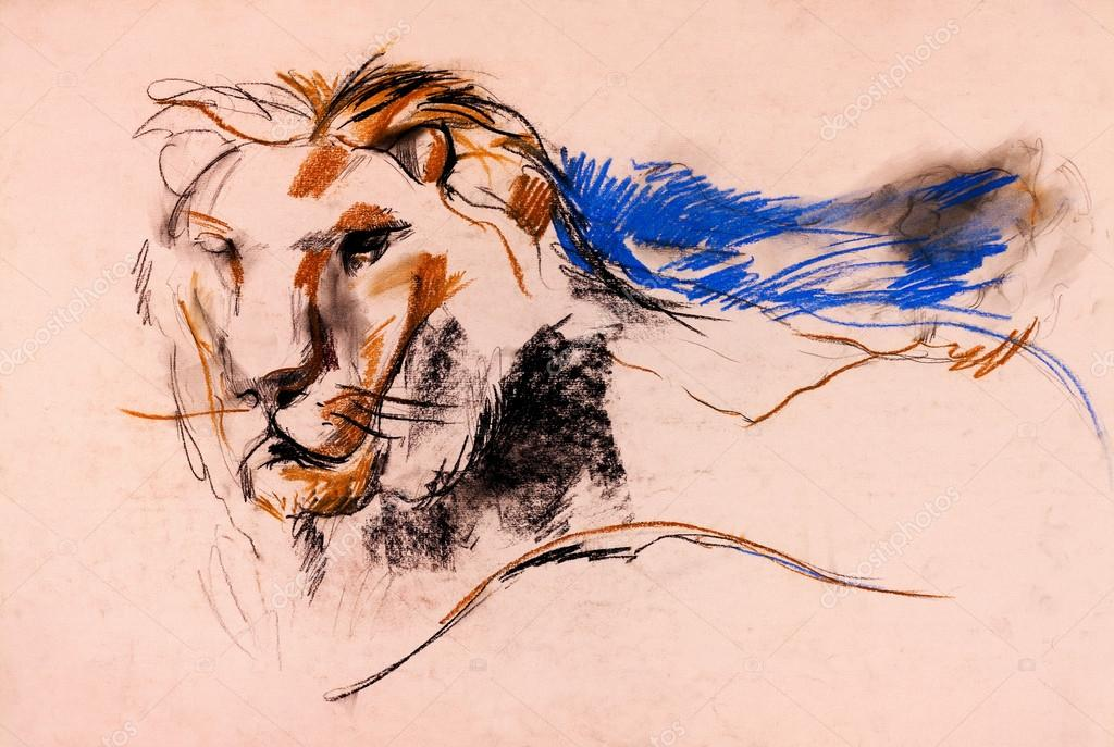 Old,grunge original pastel and  hand drawn, working  sketch of a lion.Free composition — Stock Photo #12907162