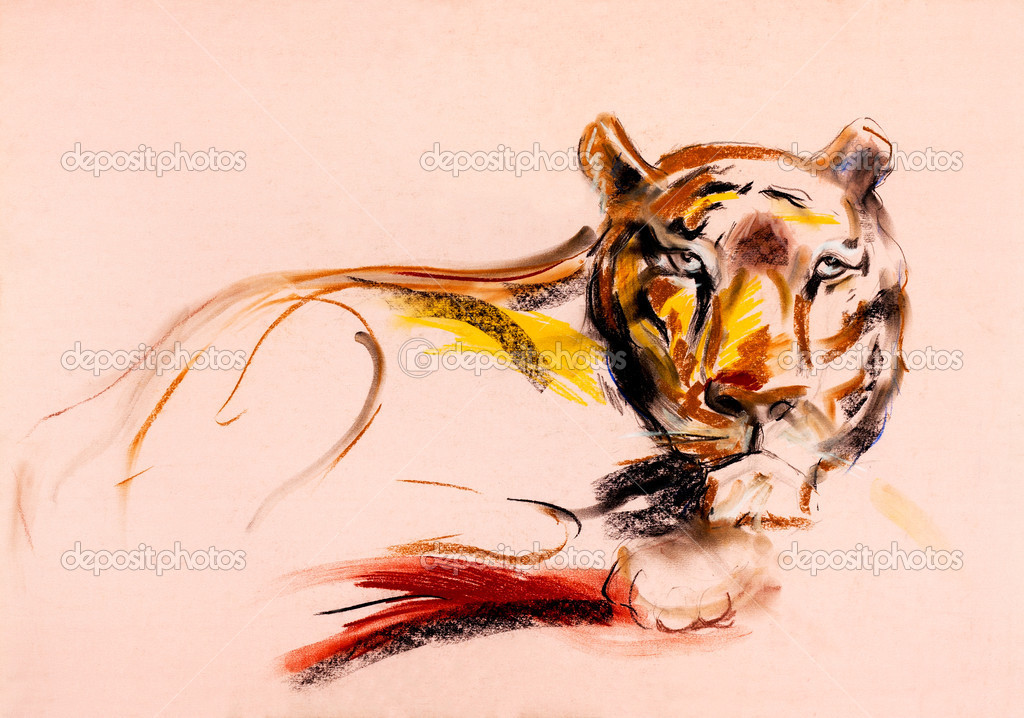 Old,grunge original pastel and  hand drawn, working  sketch of a tiger.Free composition — Stock Photo #12907181