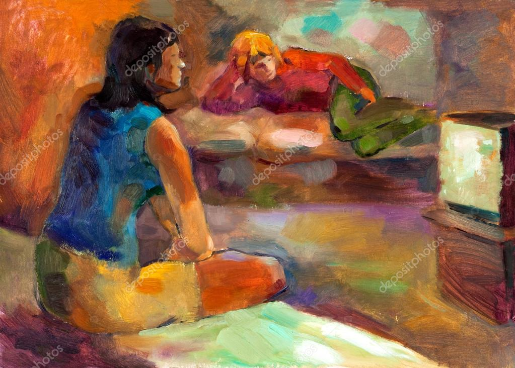 Original oil painting on canvas showing two women watching television.Modern Impressionism  Stock Photo #12907267