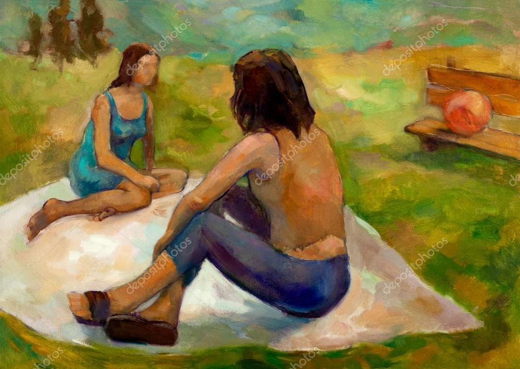 Original oil painting on canvas showing two women on picnic in the park.Modern Impressionism  Stock Photo #12907275