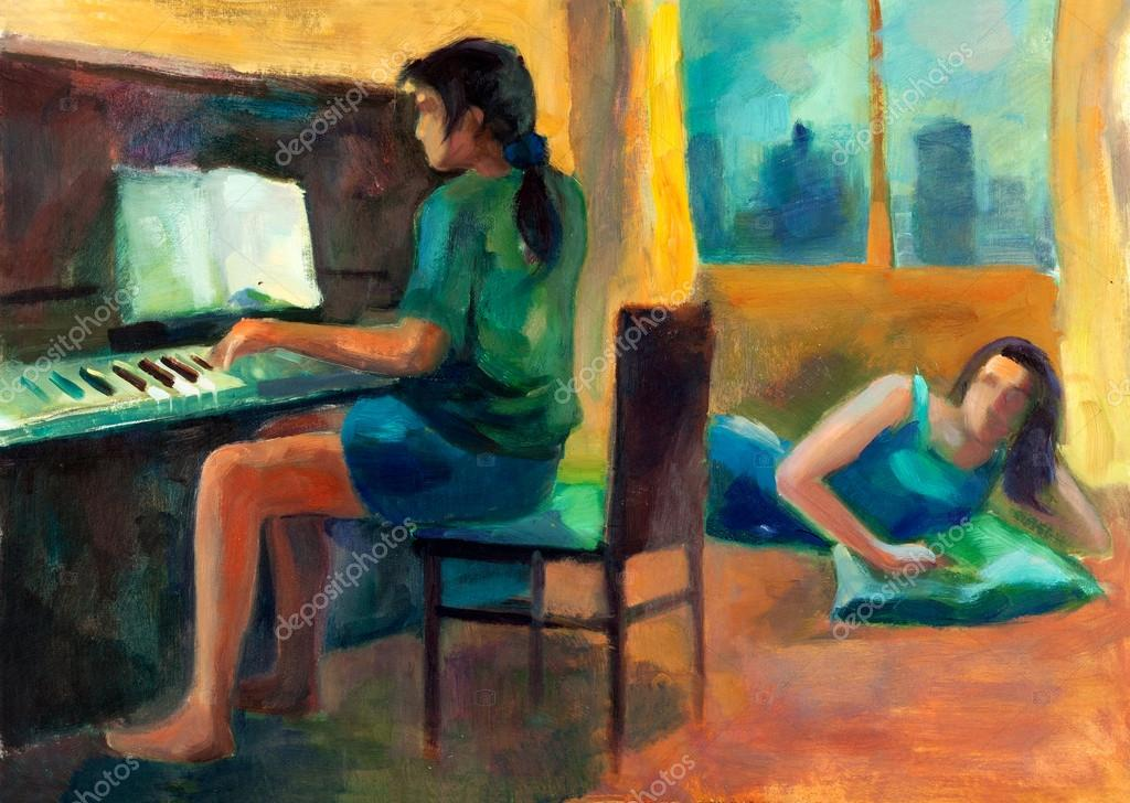 Original oil painting on canvas showing two women.One playing the piano and other listening.Modern Impressionism — Stock Photo #12907283