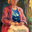Senior lady painting — Stock Photo #13250071