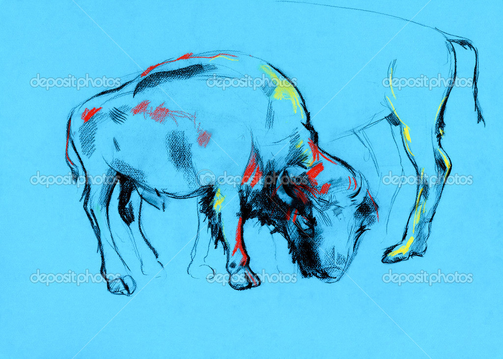 Original pastel and  hand drawn painting or  working  sketch of buffalo.Free composition — Stock Photo #13250060