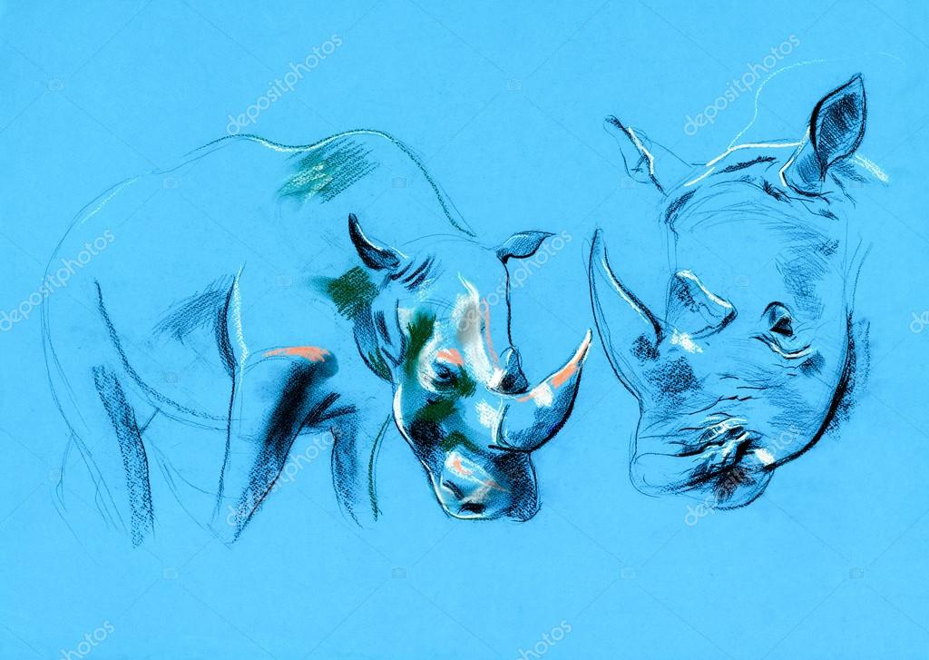 Original pastel and  hand drawn painting or  working  sketch of rhinoceros.Free composition — Foto Stock #13250063