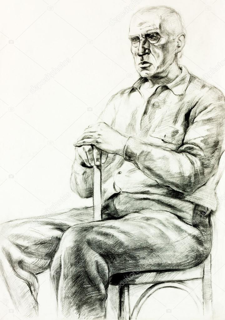 原始铅笔或绘图木炭和手绘绘画或工作一个人坐在 chair.