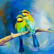 Blue tailed bee eaters — Stock Photo