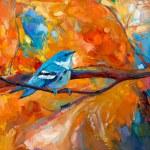 Blue Cerulean Warbler bird — Stock Photo