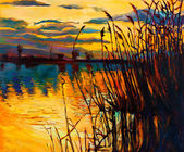 Lake on sunset — Zdjęcie stockowe