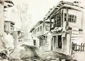 Rua búlgara vila — Fotografia Stock