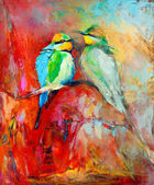 Blue tailed bee eaters — 图库照片