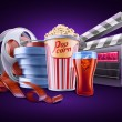 Movie, cinema: popcorn, soda, film stale, roll, container - Vektorgrafik