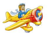 Cartoon plane with pilot — Stock Vector
