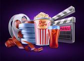 Movie, cinema: popcorn, soda, film stale, roll, container — Stock Vector