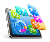 Tablet PC with application icons and pie chart — Vecteur