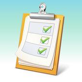 Portapapeles con lista de verificación — Vector de stock