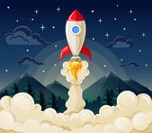 Start up space rocket ship in flat style — Stock Vector
