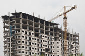 Unfinished building Under contruction as grey background — Stock Photo