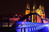 Jordan Bridge and the old Cathedral in Poznan by night — Foto de Stock