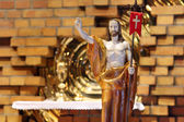 Wooden figure of Jesus resurrected, in the church during Easter — Stock Photo