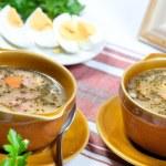 Sourdough, zur, zurek traditional Polish soup — Stock Photo #46554921