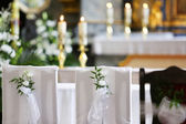 Church decoration before wedding ceremony — Stock Photo