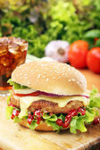 Homemade hamburger with fresh vegetables — Stock Photo