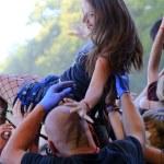 JAROCIN, POLAND - JULY 20: Young girl at a rock concert — Stock Photo #47887721