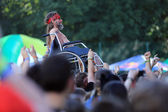 JAROCIN, POLAND - JULY 20: Disabled man at a rock concert. — Stock Photo