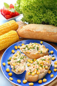 Sandwich with tuna and corn on the plate. Healthy breakfast. — Stock Photo