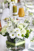Beautiful wedding decorations on the table before celebration — Stock Photo