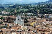 Panorama of Florence with famous Basilica di Santa Croce, Toscan — Photo