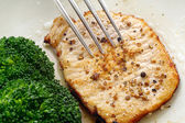 Saute pork loin with pepper coriander and broccoli — Stock Photo