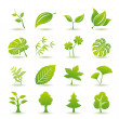Green leaf icons set — Stock Vector #3463429