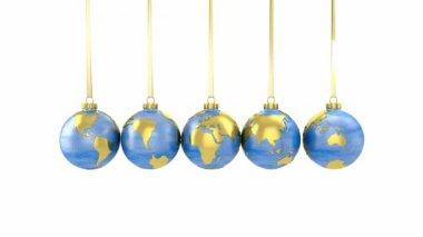 Newton vagga av världen formade julgranskulor — Stockvideo