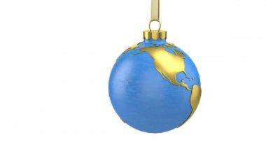 Jul boll formad som världen eller planet — Stockvideo