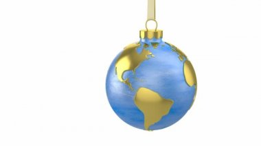 Christmas ball shaped as globe or planet, America part — Stock Video