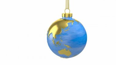 Christmas ball shaped as globe or planet, Asia part — Stock Video