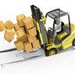Fork lift truck with heavy load crashing through floor — Stock Photo