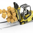 Fork lift truck with heavy load crashing through floor — Foto Stock #14615893