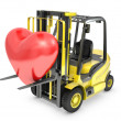 Fork lift truck lifts red heart — Stock Photo
