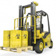 Fork lift truck with biohazard barrels — Stock Photo