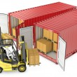 Two yellow lift truck unloading containers — Stock Photo #14616197