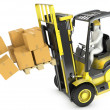 Stock Photo: Overloaded yellow fork lift truck falling forward
