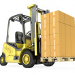Yellow fork lift truck with big stack of carton boxes — Zdjęcie stockowe