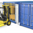 Yellow fork lift truck unloads cargo container — Stock Photo #14616215