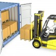 Yellow fork lift truck unloads cargo container — Stock Photo #14616217