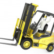 Abstract white min fork lift truck, balancing on rear wheel — Stockfoto #14616225