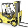Abstract white man in a fork lift truck — Stock Photo