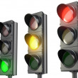 Three traffic lights, red green and yellow — Stock Photo #14616299